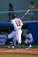 Isranel Wilson (12) of the Danville Braves follows through on his swing against the Elizabethton Twins at American Legion Post 325 Field on July 1, 2017 in Danville, Virginia.  The Twins defeated the Braves 7-4.  (Brian Westerholt/Four Seam Images)