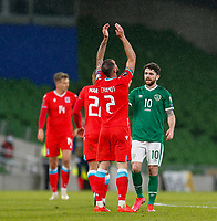 27th March 2021; Aviva Stadium, Dublin, Leinster, Ireland; 2022 World Cup Qualifier, Ireland versus Luxembourg; Robbie Brady of Ireland congratulates Maxime Chanot of Luxembourg on their win