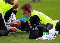 20th March 2021; Twickenham Stoop, London, England; English Premiership Rugby, Harlequins versus Gloucester; Harlequins, Gloucester; Sobering view of the dangers of rugby, Henry Trinder of Gloucester with a head injury