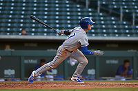 AZL Royals Bobby Witt, Jr. (17) hits an RBI-single in the top of the third inning during his professional debut in an Arizona League game against the AZL Cubs 1 on June 30, 2019 at Sloan Park in Mesa, Arizona. AZL Royals defeated the AZL Cubs 1 9-5. (Zachary Lucy / Four Seam Images)