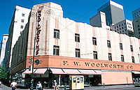 "Seattle: Woolworth's, c. 1935. Third & Pike. ""A stock company design in the Moderne style...repeated across the country"".  Photo '86."
