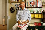 Brian Johnston portrait British cricket commentator TV and radio  personality 1990s north London home