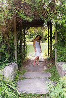 Woman standing in a gazebo