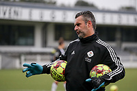 Davy Verbert keeper trainer of OHL pictured during the warm up before a female soccer game between Oud Heverlee Leuven and Femina White Star Woluwe  on the 5 th matchday of the 2020 - 2021 season of Belgian Womens Super League , Sunday 18 th of October 2020  in Heverlee , Belgium . PHOTO SPORTPIX.BE | SPP | SEVIL OKTEM