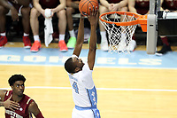 CHAPEL HILL, NC - FEBRUARY 1: Brandon Robinson #4 of the University of North Carolina dunks the ball during a game between Boston College and North Carolina at Dean E. Smith Center on February 1, 2020 in Chapel Hill, North Carolina.
