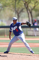 Francisco Villa #5 of the Los Angeles Dodgers pitches during a Minor League Spring Training Game against the Cleveland Indians at the Los Angeles Dodgers Spring Training Complex on March 22, 2014 in Glendale, Arizona. (Larry Goren/Four Seam Images)