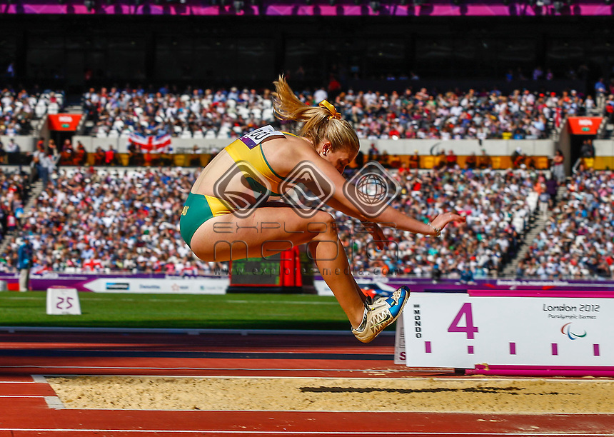 Katie Parrish (AUS) mid flight during the women's long jump - F37/38 final, Athletics (Friday 31st Aug) - Olympic Stadium,Paralympics - Summer / London 2012, London, England 29 Aug - 9 Sept , © Sport the library/Greg Smith