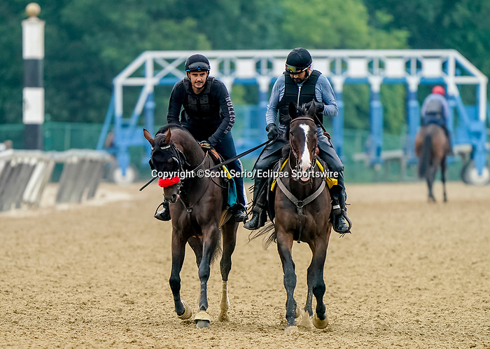 June 4, 2021: Hot Rod Charlie exercises in preparation for the Belmont Stakes on Friday at the Belmont Stakes Festival at Belmont Park in Elmont, New York. Scott Serio/Eclipse Sportswire/CSM