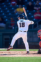 Oregon State Beavers Ryan Ober (18) at bat during an NCAA game against the New Mexico Lobos at Surprise Stadium on February 14, 2020 in Surprise, Arizona. (Zachary Lucy / Four Seam Images)