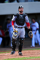 Syracuse Chiefs catcher Jason Lerud (19) during a game versus the Pawtucket Red Sox at McCoy Stadium in Pawtucket, Rhode Island on April 30, 2015.  (Ken Babbitt/Four Seam Images)