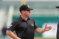 Field umpire Bryan Fields before a game between the Reno Aces and the Fresno Grizzlies at Chukchansi Park on April 8, 2019 in Fresno, California. Fresno defeated Reno 7-6. (Zachary Lucy/Four Seam Images)