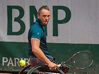Paris, France, 7 June, 2017, Tennis, French Open, Roland Garros,  Wheelchair men, Nicolas Peifer (FRA)<br /> Photo: Henk Koster/tennisimages.com