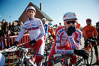 Alexander Kristoff (NOR) & teammate (Russian Champion) Vladimir Isaichev (RUS) at the start<br /> <br /> Kuurne-Brussel-Kuurne 2014