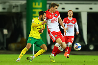 3rd November 2020; Carrow Road, Norwich, Norfolk, England, English Football League Championship Football, Norwich versus Millwall; Jon Daoi Boovarsson of Millwall under pressure from Lukas Rupp of Norwich City