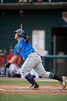 Akron RubberDucks catcher Li-Jen Chu (30) flies out during a game against the Harrisburg Senators on August 18, 2018 at FNB Field in Harrisburg, Pennsylvania.  Akron defeated Harrisburg 5-1.  (Mike Janes/Four Seam Images)