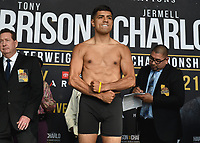 """ONTARIO - DECEMBER 20:  Karlos Balderas at the weigh in for the December 21 fight on the Fox Sports PBC """"Harrison v Charlo"""" on December 20, 2019 in Ontario, California. (Photo by Frank Micelotta/Fox Sports/PictureGroup)"""