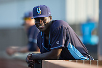 Wilmington Blue Rocks relief pitcher Yunior Marte (29) during the game against the Buies Creek Astros at Jim Perry Stadium on April 29, 2017 in Buies Creek, North Carolina.  The Astros defeated the Blue Rocks 3-0.  (Brian Westerholt/Four Seam Images)