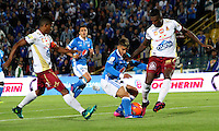 BOGOTA -COLOMBIA, 22-02-2017.Jacobo Kouffaty (Center) player of Millonarios  fights the ball agaisnt of Sergio Mosquera (R) player of Deportes Tolima . Action game beteween  Millonarios  and Tolima  during match for the date 5 of the Aguila League I 2017 played at Nemesio Camacho El Campin stadium . Photo:VizzorImage / Felipe Caicedo  / Staff
