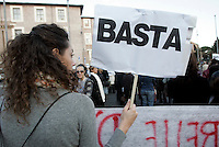 """Manifestazione nazionale contro la violenza maschile sulle donne, a Roma, 28 novembre 2009..A demonstrator holds a sign reading """"Stop"""" during a march against male violence on women, in Rome, 28 november 2009..UPDATE IMAGES PRESS/Riccardo De Luca"""