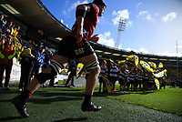 Crusaders captain Scott Barrett leads his team out for the Super Rugby Aotearoa match between the Hurricanes and Crusaders at Sky Stadium in Wellington, New Zealand on Sunday, 11 April 2020. Photo: Dave Lintott / lintottphoto.co.nz