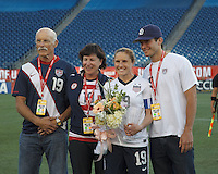 USWNT defender Rachel Buehler (19) 100th cap acknwoledged. In an international friendly, the U.S. Women's National Team (USWNT) (white/blue) defeated Korea Republic (South Korea) (red/blue), 4-1, at Gillette Stadium on June 15, 2013.