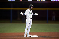 Hillsboro Hops shortstop LT Tolbert (11) shrugs his shoulders towards his teammates after hitting a late-inning double during a Northwest League game against the Salem-Keizer Volcanoes at Ron Tonkin Field on September 1, 2018 in Hillsboro, Oregon. The Salem-Keizer Volcanoes defeated the Hillsboro Hops by a score of 3-1. (Zachary Lucy/Four Seam Images)