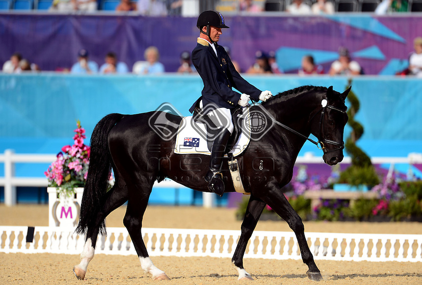 Rob Oakley (AUS) rides Statford Mantovani in the Dressage Individual Freestyle Test - Grade 1a<br /> Equestrian (Tuesday 4th Sept) - Greenwich Park<br /> Paralympics - Summer / London 2012 <br /> London, England 29 Aug - 9 Sept<br /> © Sport the library/Courtney Crow