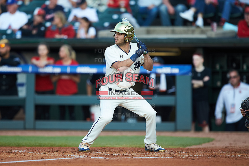 Jake Johnson (39) of the Notre Dame Fighting Irish at bat against the Louisville Cardinals in Game Eight of the 2017 ACC Baseball Championship at Louisville Slugger Field on May 25, 2017 in Louisville, Kentucky. The Cardinals defeated the Fighting Irish 10-3. (Brian Westerholt/Four Seam Images)
