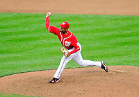 24 April 2010: Washington Nationals' pitcher Miguel Batista on the mound against the Los Angeles Dodgers at Nationals Park in Washington, DC. The Dodgers edged out the Nationals 4-3 in a thirteen inning game. Mandatory Credit: Ed Wolfstein Photo