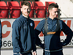St Johnstone Training….26.01.18<br />Trilaist Jonathan Franks pictured with Stefan Scougall during a training session at McDiarmid Park this morning ahead of tommorrow's game against Partick Thistle.<br />Picture by Graeme Hart.<br />Copyright Perthshire Picture Agency<br />Tel: 01738 623350  Mobile: 07990 594431