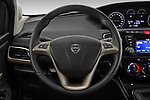 Car pictures of steering wheel view of a 2019 Lancia Ypsilon Gold 5 Door Hatchback Steering Wheel
