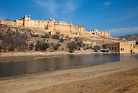Amber (or Amer) Palace, near Jaipur, Rajasthan, India.  Maota Lake in the foreground.