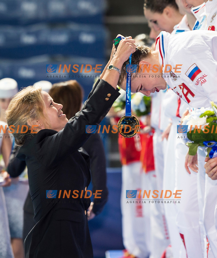 Podium<br /> Margaux Mountjoy FINA<br /> Russia RUS<br /> Gold Medal<br /> TIMANINA Angelika<br /> Day 9 01/08/2015<br /> XVI FINA World Championships Aquatics<br /> Synchro<br /> Kazan Tatarstan RUS July 24 - Aug. 9 2015 <br /> Photo Giorgio Scala/Deepbluemedia/Insidefoto