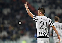 Calcio, Serie A: Juventus vs Sassuolo. Torino, Juventus Stadium, 11 marzo 2016. <br /> Juventus' Paulo Dybala celebrates after scoring the winning goal during the Italian Serie A football match between Juventus vs Sassuolo, at Turin's Juventus Stadium, 11 March 2016. Juventus won 1-0.<br /> UPDATE IMAGES PRESS/Isabella Bonotto