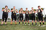 August 22, 2013- Tuscola, IL- The 2013 Warrior Football Seniors. From left are Dakota Hale, Ashton Hastings, Austin Beniach, Tristan Williams, Austin Martin, and Kyle Stenger. [Photo: Douglas Cottle]