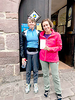 Photo submitted<br /> Every pilgrim an the Carmino de Santiago must stop for a passport before they begin<br /> Beth Haller and Carie O'Banion pose outside the Pilgrim office in St. Jean Pied de Port France.