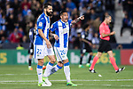Luciano Neves (r) of Deportivo Leganes celebrates with teammate Lluis Sastre Reus during their La Liga match between Deportivo Leganes and Real Madrid at the Estadio Municipal Butarque on 05 April 2017 in Madrid, Spain. Photo by Diego Gonzalez Souto / Power Sport Images