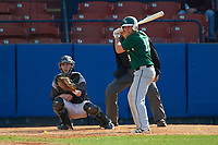 Farmingdale Rams third baseman Michael Ciullo (19) at bat in front of catcher Mike Fitzsimmons during a game against the Union Dutchmen on February 21, 2016 at Chain of Lakes Stadium in Winter Haven, Florida.  Farmingdale defeated Union 17-5.  (Mike Janes/Four Seam Images)