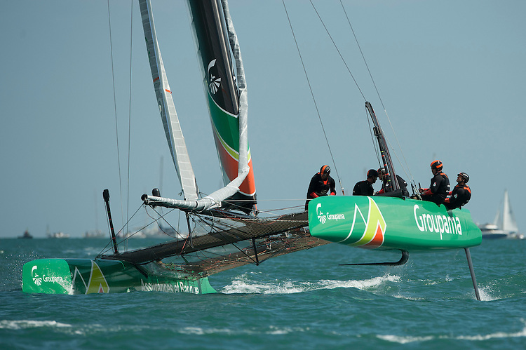25 July 2015: Groupama Team France in action during the America's Cup first round racing off Portsmouth, England (Photo by Rob Munro)