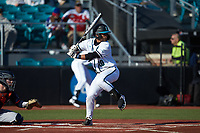 Eric Brown (20) of the Coastal Carolina Chanticleers at bat against the Illinois Fighting Illini at Springs Brooks Stadium on February 22, 2020 in Conway, South Carolina. The Fighting Illini defeated the Chanticleers 5-2. (Brian Westerholt/Four Seam Images)