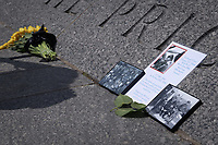 Washington, DC - June 6, 2019: A photo of a veteran is placed in tribute during the 75th anniversary of D-Day and the Battle of Normandy at the World War II Memorial in Washington D.C,. June 6, 2019.  (Photo by Lenin Nolly/Media Images International)
