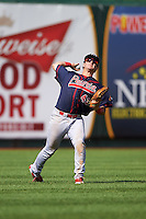 Peoria Chiefs left fielder Dylan Tice (43) throws the ball in during the second game of a doubleheader against the South Bend Cubs on July 25, 2016 at Four Winds Field in South Bend, Indiana.  South Bend defeated Peoria 9-2.  (Mike Janes/Four Seam Images)