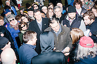 Texas senator and Republican presidential candidate Ted Cruz greets people after holding a Second Amendment Rally outside Granite State Indoor Range in Hudson, New Hampshire.