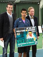 20-01-13, Tennis, Rotterdam, Wildcard for qualification ABNAMROWTT,  Fabian van der Lans wint wildcard, Links toernooi directeur Richard Krajicek