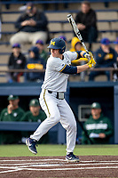 Michigan Wolverines first baseman Jimmy Kerr (15) at bat in the NCAA baseball game against the Michigan State Spartans on May 7, 2019 at Ray Fisher Stadium in Ann Arbor, Michigan. Michigan defeated Michigan State 7-0. (Andrew Woolley/Four Seam Images)