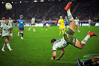Mitch Hunt goes flying in the air during the Super Rugby Tran-Tasman final between the Blues and Highlanders at Eden Park in Auckland, New Zealand on Saturday, 19 June 2020. Photo: Dave Lintott / lintottphoto.co.nz