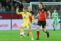 20171020 - LEUVEN , BELGIUM : Belgian Tine De Caigny (r) pictured defending on Romanian Maria Ciolacu (left) during the female soccer game between the Belgian Red Flames and Romania , the second game in the qualificaton for the World Championship qualification round in group 6 for France 2019, Friday 20 th October 2017 at OHL Stadion Den Dreef in Leuven , Belgium. PHOTO SPORTPIX.BE | DAVID CATRY