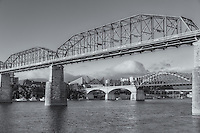 The Walnut Street, Chief John Ross (Market Street) and Olgiati bridges crossing the Tennessee River in Chattanooga, Tennessee.