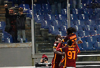 Calcio, Serie A: Roma vs Milan. Roma, stadio Olimpico, 9 gennaio 2016.<br /> Roma's Antonio Ruediger, left, celebrates with teammates Umar Sadiq, center, and Gervinho, after scoringduring the Italian Serie A football match between Roma and Milan at Rome's Olympic stadium, 9 January 2016.<br /> UPDATE IMAGES PRESS/Riccardo De Luca