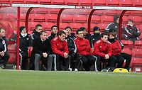 Pictured L-R: Swansea manager Brendan Rodgers with assistant Colin Pascoe and the rest of the bench. Saturday 07 January 2012<br /> Re: FA Cup football Barnsley FC v Swansea City FC at the Oakwell Stadium, south Yorkshire.
